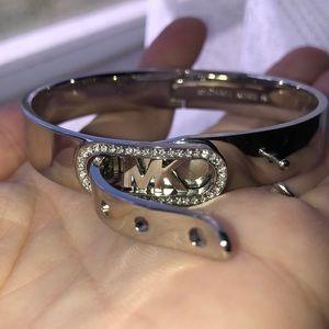 Michael Kors Silver MK Belt Bracelet with Crystals